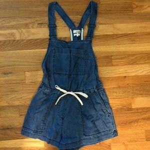 Aritzia denim overall shorts